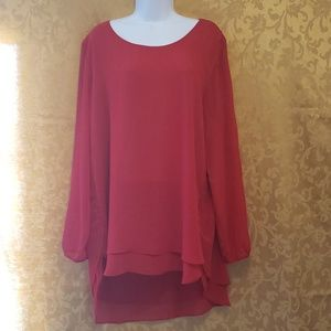 Beautiful Red Hi-Low Blouse by Investments szXL